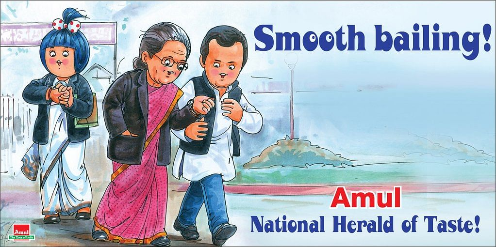 """Political representation of the National Herald Case involving Sonia Gandhi and Rahul Gandhi. (Photo courtesy: Amul's <a href=""""https://twitter.com/Amul_Coop"""">Twitter page</a>)"""