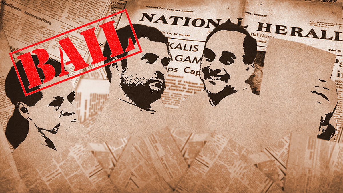 Sonia and Rahul granted bail in the National Herald case. (Photo altered by <b>The Quint</b>)