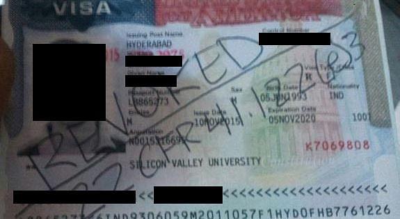 A student's revoked visa. (Photo: Happy Schools Blog)