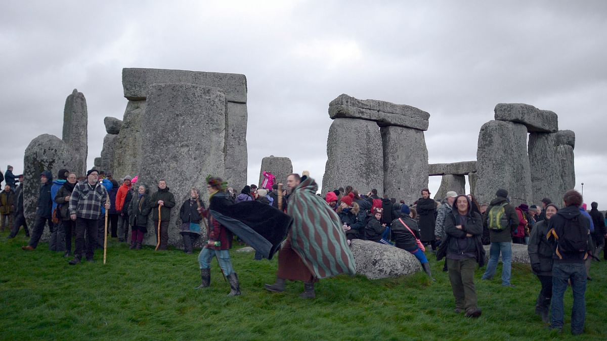 People gather at Stonehenge England to celebrate the Winter Solstice. (Photo: AP)