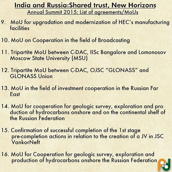 """Agreements between India and Russia. (Photo: <a href=""""https://twitter.com/MEAIndia/status/680057751704342528"""">Twitter</a>)"""