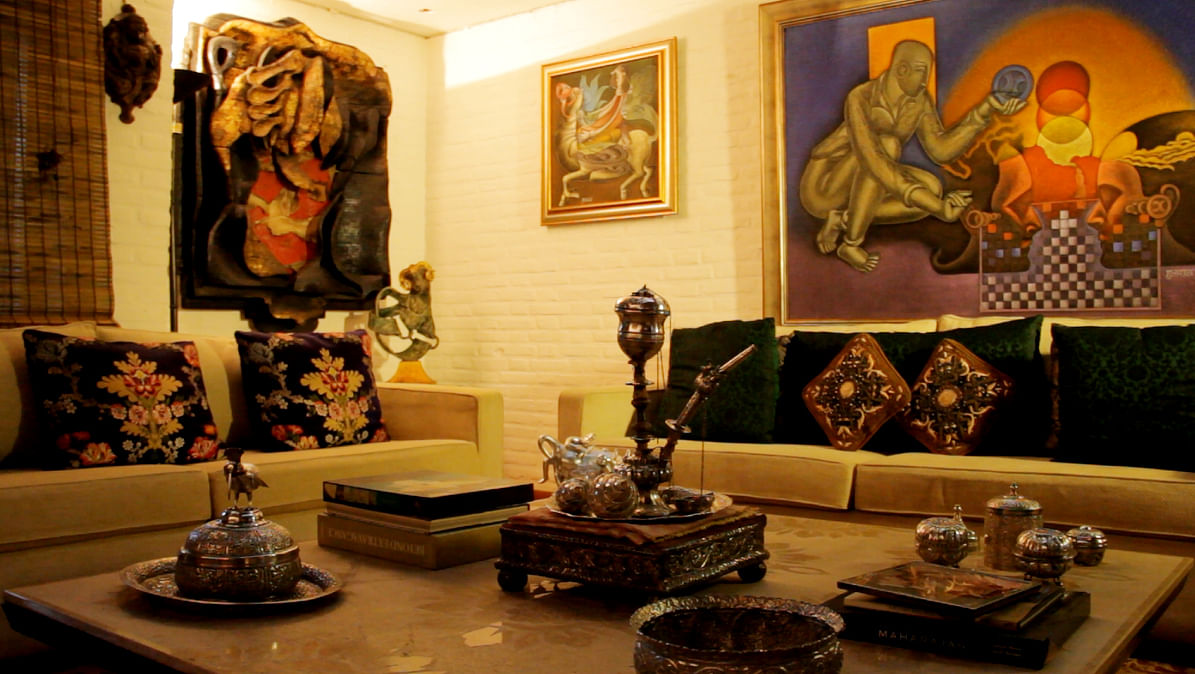 Satish Gujral's living room dominated by his art works on canvas, burnt wood and bronze (Photo Courtesy: Sahar Zaman)