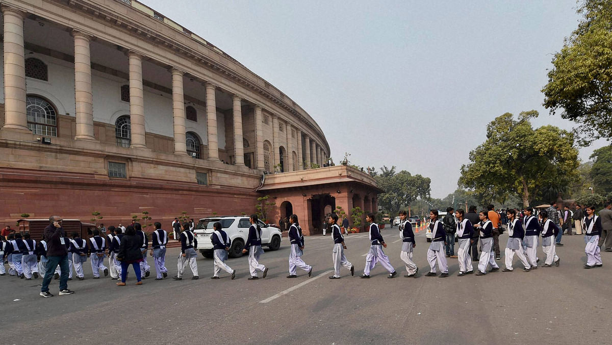Students visiting Parliament during the winter session in New Delhi, December 12, 2015. (Photo: PTI)