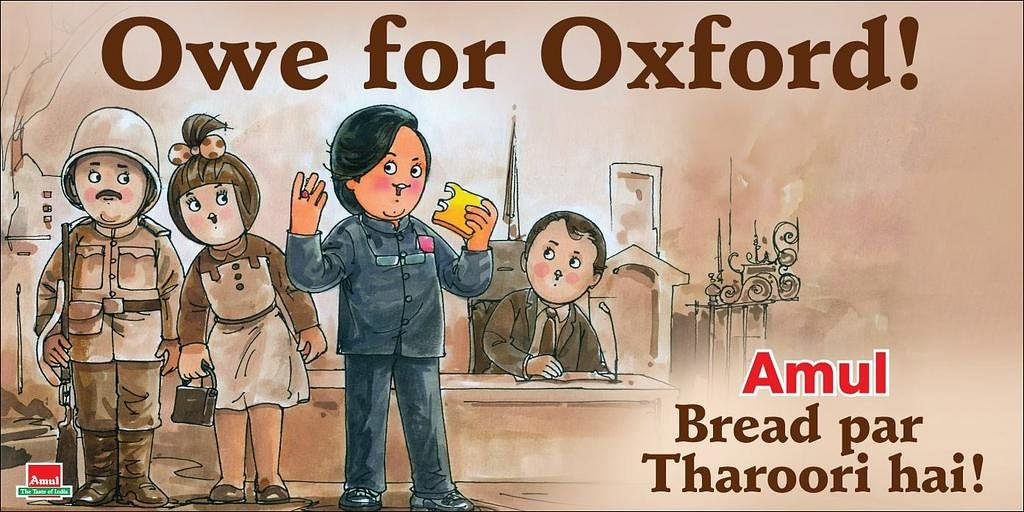 """An ode to Tharoor's Oxford speech by Amul. (Photo courtesy: Amul's <a href=""""https://twitter.com/Amul_Coop"""">Twitter page</a>)"""