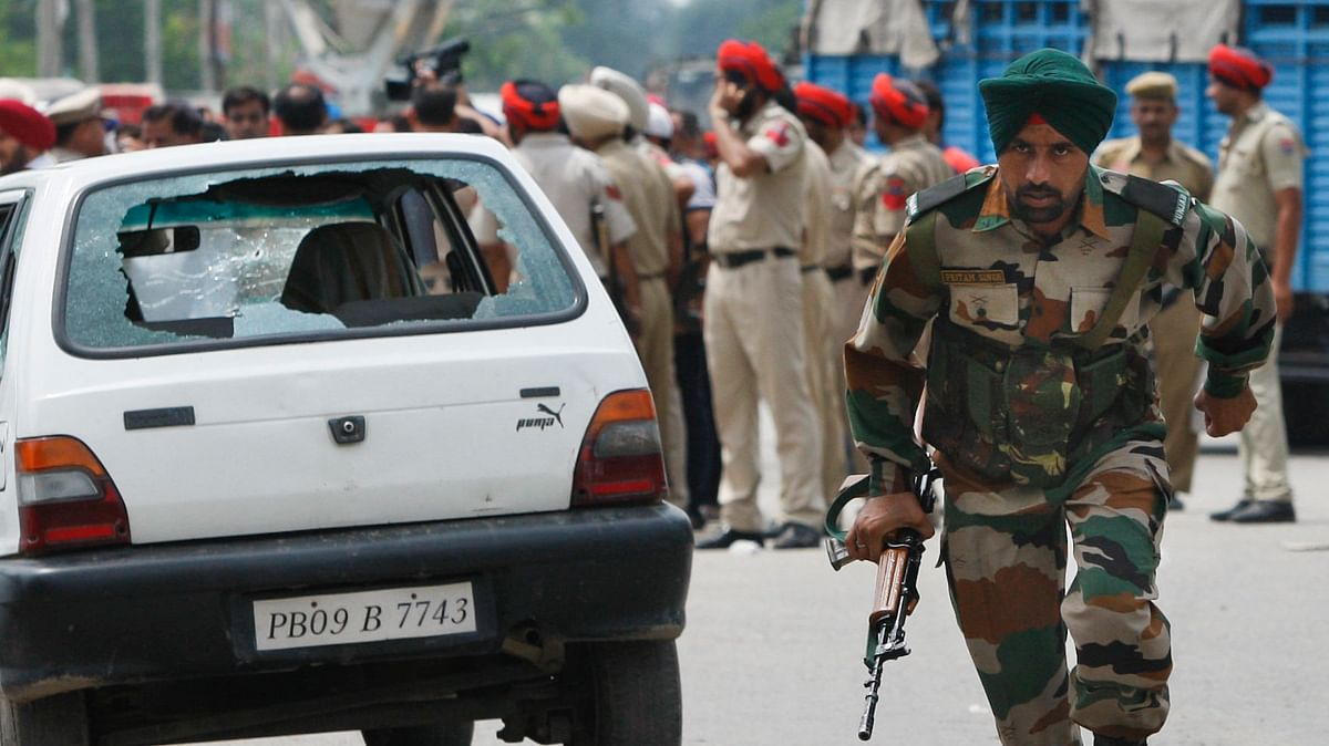 Security personnel at Dinanagar area where the Punjab terror attack took place. (Photo: AP)