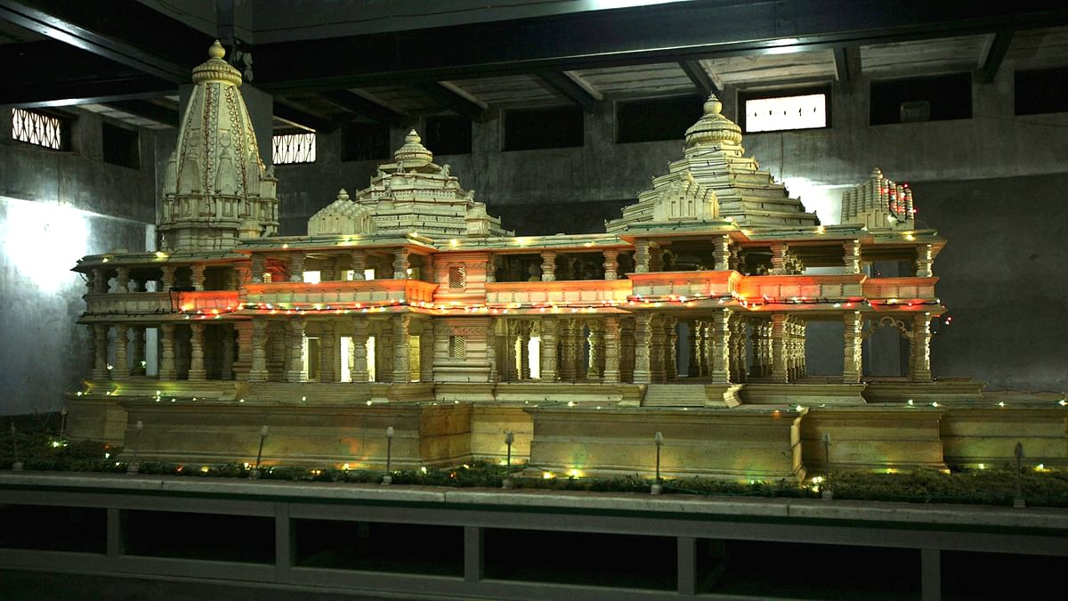 A model of the Ram Temple that Hindu organisations want built on the site on which Babri Masjid was destroyed. (Photo: The Reuters)