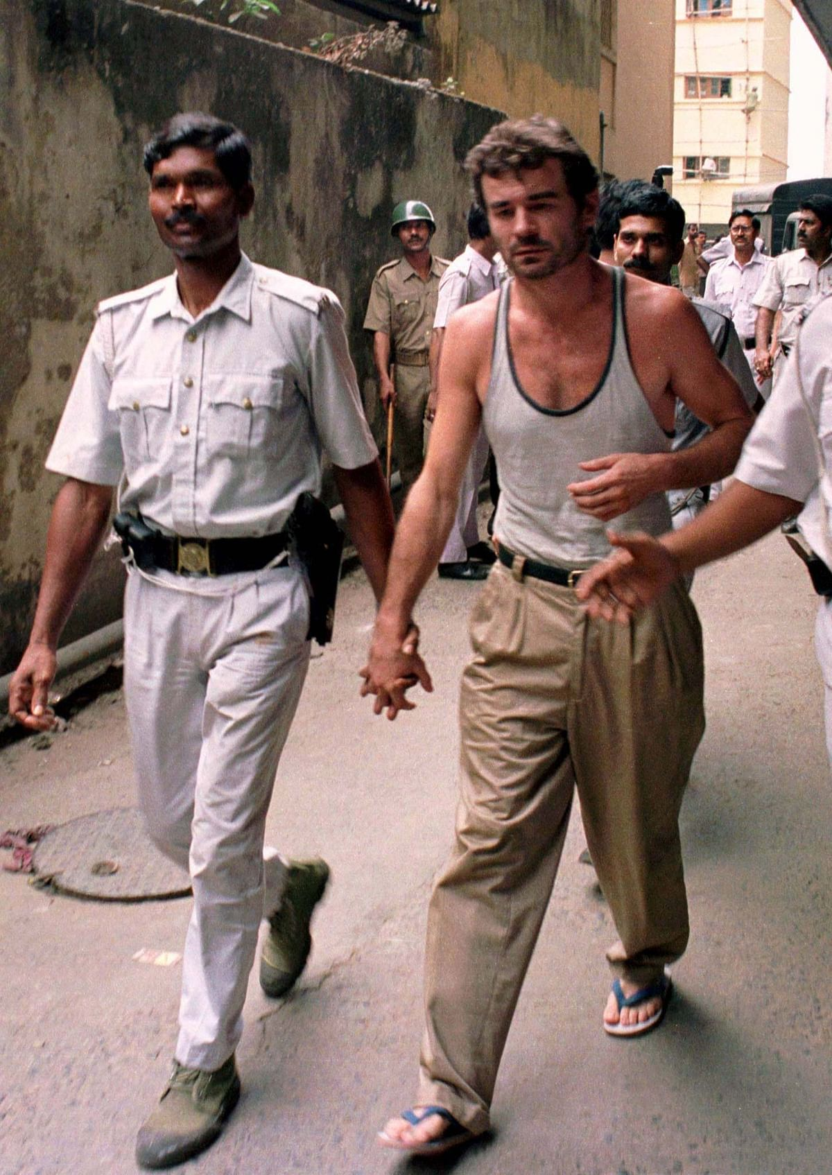 Olech Gaidach (R),  along with four other Lativian crew members and former British armyman and one-time MI6 agent Peter Bleach, were imprisoned for their involvement in the  Purulia arms drop case. They were pardoned by the Vajpayee government. (Photo: Reuters)
