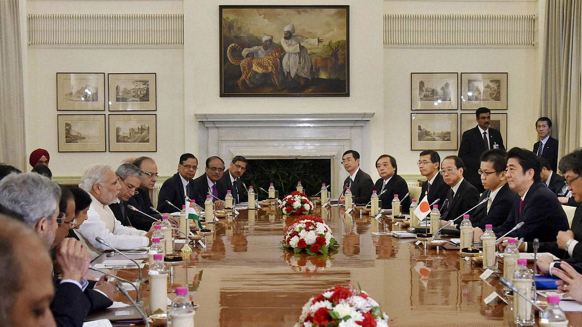 Prime Minister Narendra Modi and his Japanese counterpart Shinzo Abe during a delegation level meeting (Photo: PTI)