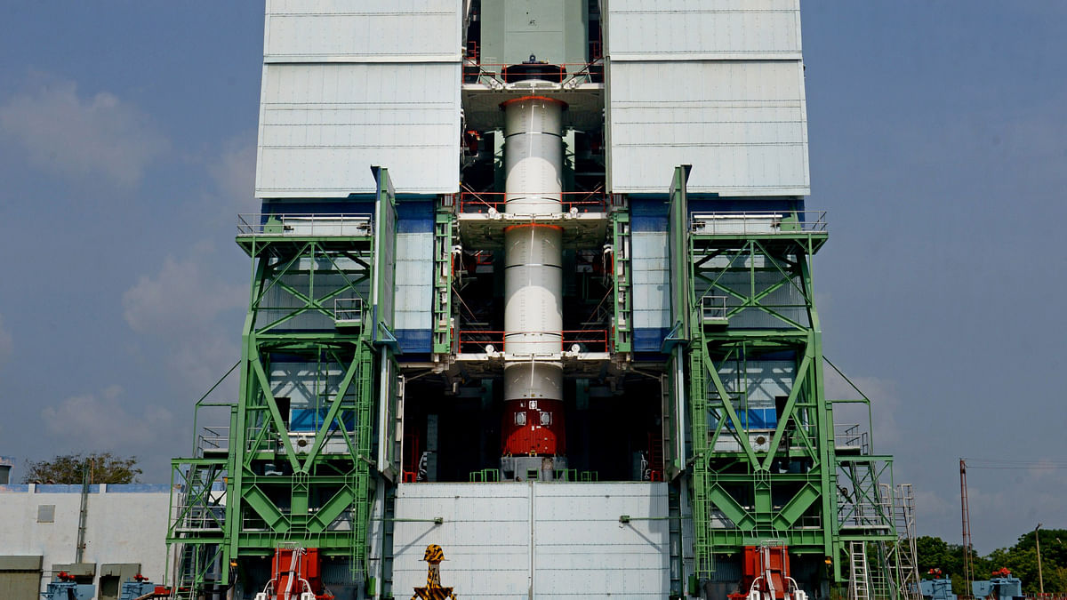 A PSLV rocket during the integration of the first stage at Mobile Service Tower (Photo Courtesy: ISRO)