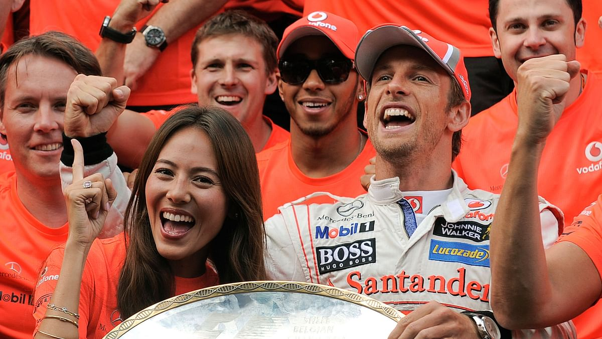 File picture of Jenson Button celebrating a Belgian GP victory with his then girlfriend Japanese-Argentine model Jessica Michibata. (Photo: Reuters)