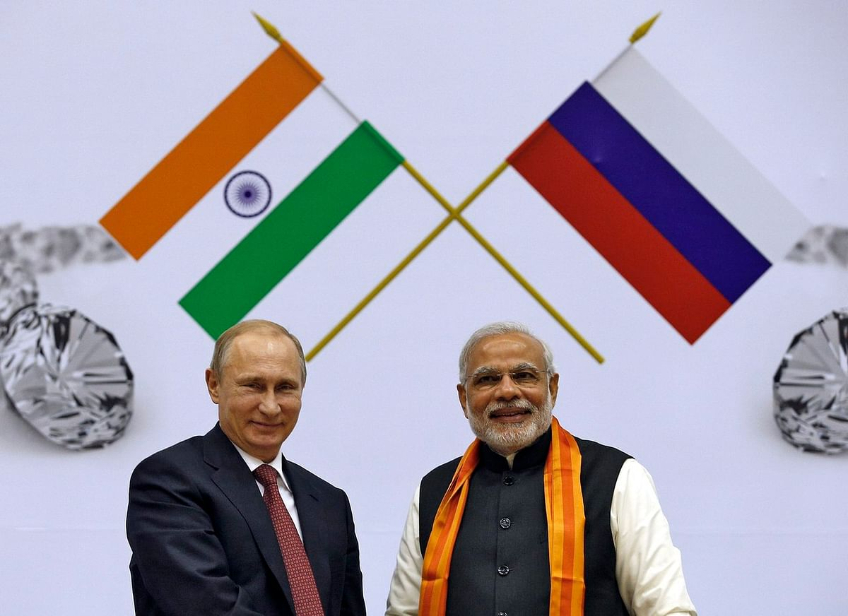 A file photo of Putin and Modi in New Delhi, 2014. (Photo: Reuters)