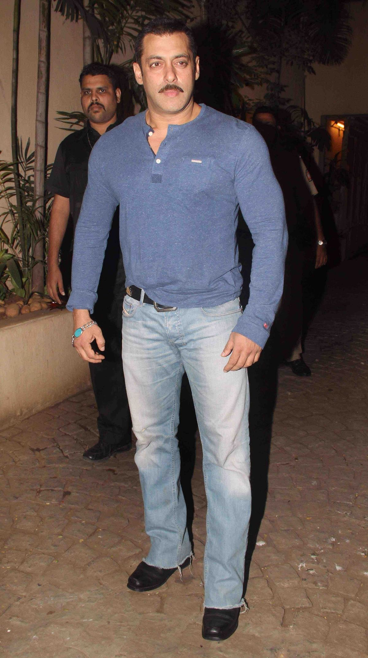 Salman Khan sporting a moustache at the birthday bash (Photo: Yogen Shah)