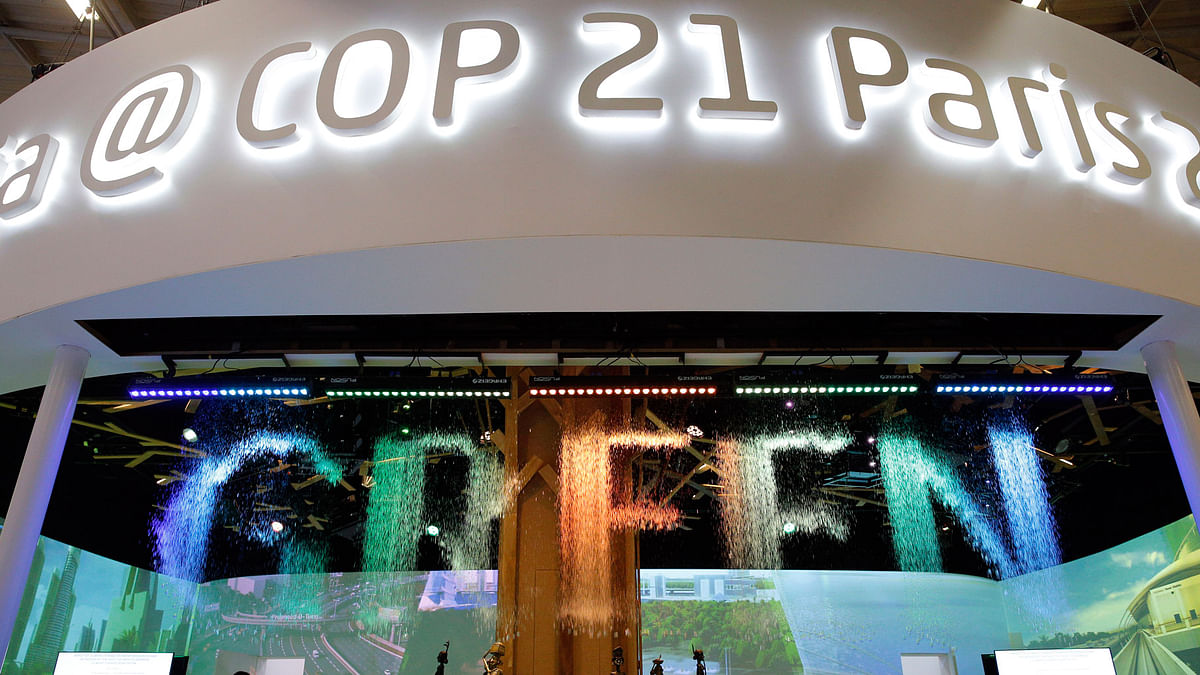 The Indian Pavilion at the COP21, the United Nations Climate Change Conference, December 7, 2015 in Le Bourget, north of Paris. (Photo: AP)