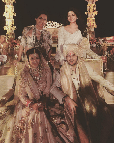 """The celebrity wedding saw a high profile guest list, mostly from the film fraternity. (Photo Courtesy:<a href=""""https://www.instagram.com/sonamkapoor/""""> Instagram/Sonam Kapoor</a>)"""