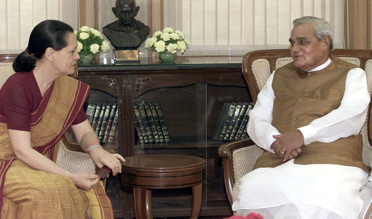 Vajpayee meeting Sonia Gandhi, leader of opposition in Parliament before the beginning of the session on 8 August 2003.