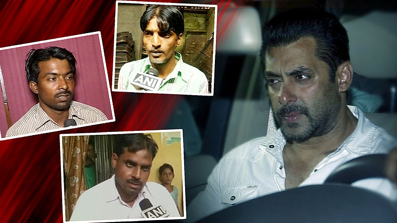 Salman Khan (right) with pictures of those who were injured in the accident. (Photo: Reuters, ANI)