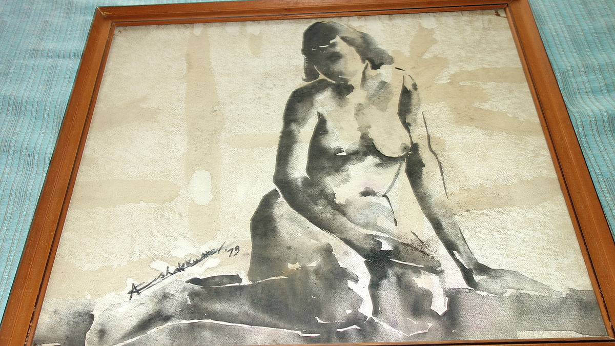 The nude painting of Ashok Kumar's wife done by him.