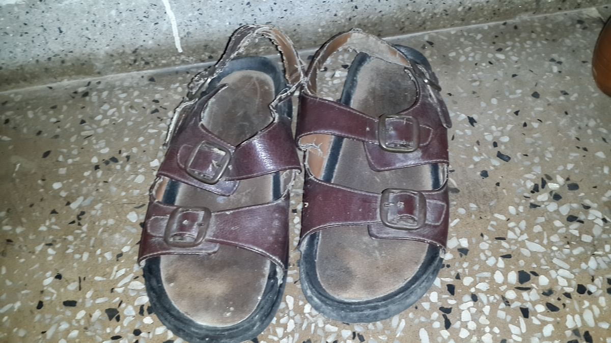 My dad continues to show his loyalty to his old pair of Bata's. (Photo Courtesy: Sangeeta Murthi Sahgal)