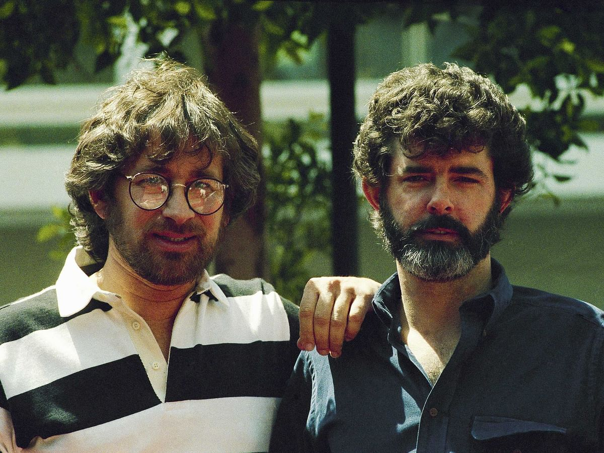 An old photograph of Steven Spielberg with Geroge Lucas.