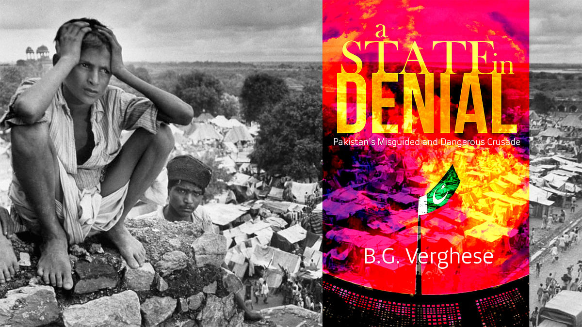 The cover of the book (right) merged with a partition of India and Pakistan photo. (Photo: TheQuint)