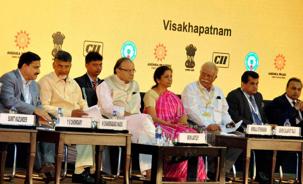 Chief Minister of Andhra Pradesh Chandra Babu Naidu, Union Minister Arun Jaitley, Anil Ambani and others during inaugural session of partnership summit -2016 at Visakhapatnam on Sunday. (Photo: PTI)