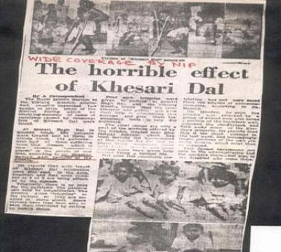 """Newspaper clipping of a story on the harmful effects of Khesari dal. (Photo Courtesy: <a href=""""http://www.jimars.org/gallery.php?page=8"""">JIMARS</a>)"""