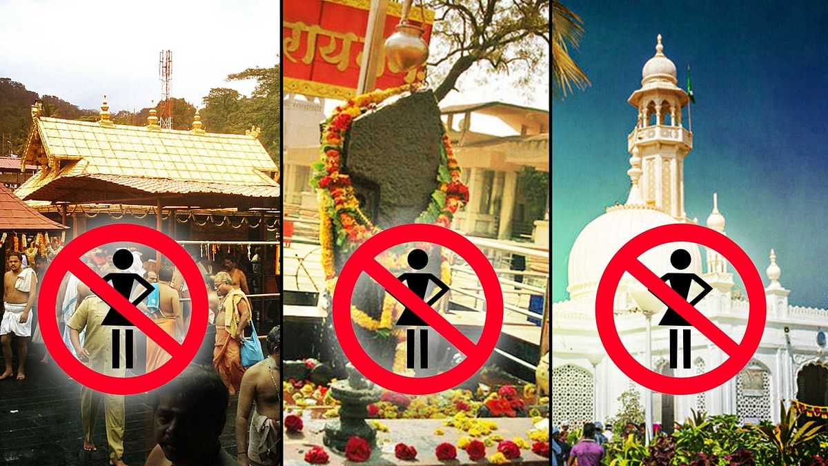 Women are banned from entering Sabarimala, Shani Temple, and the Haji Ali dargah. (Photo:<b> The Quint</b>)