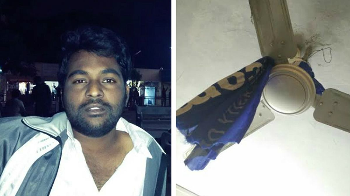 Rohit Vemula (left) and the place where he ended his life. (Photo Courtesy: The News Minute)