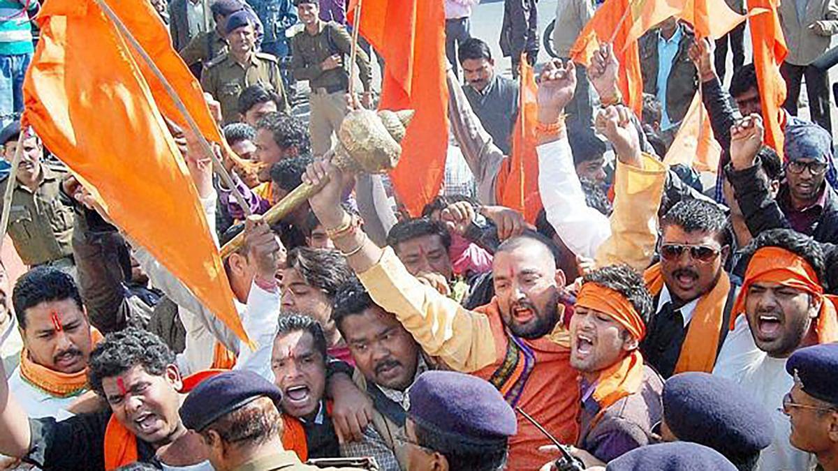 Bajrang Dal activists protesting.