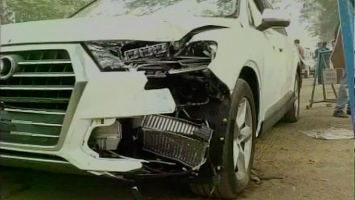 Sambia Sohrab's Audi Q7 which ran over the officer during Republic Day parade rehearsals. (Photo: ANI)