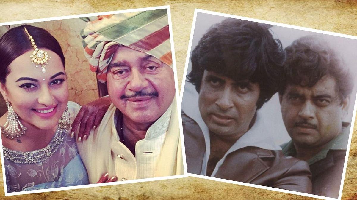 Sonakshi Sinha with dad Shatrughan; Amitabh Bachchan and Shatrughan Sinha in <i>Dostana&nbsp;</i>