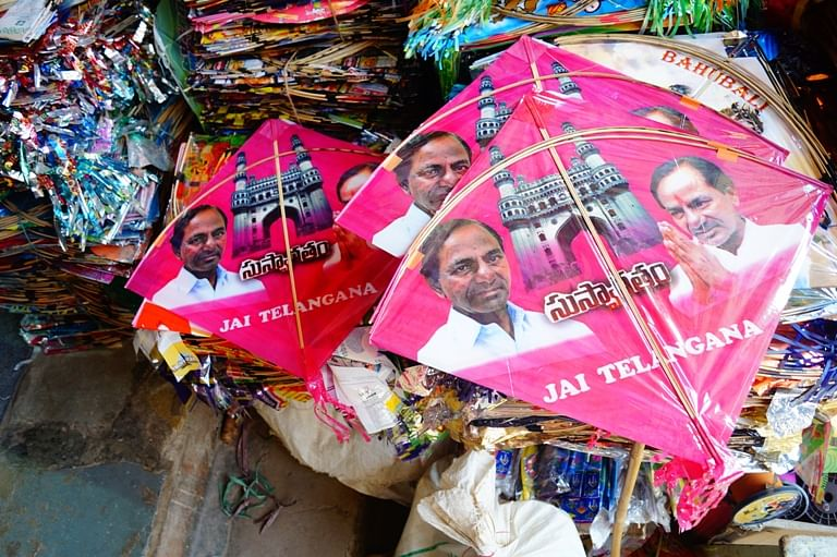 Kites with KCR's picture have flooded the markets. (Photo Courtesy: The News Minute)