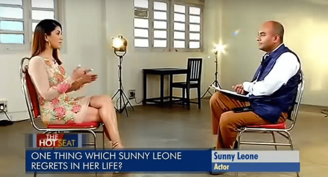 Sunny Leone faced Bhupendra Chaubey's questions with grace and dignity (Photo courtesy: YouTube)