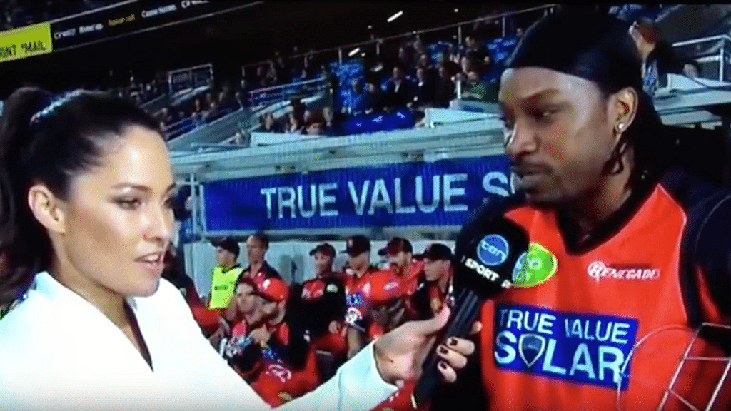 """Mel McLaughlin interviews Chris Gayle. (Photo: <a href=""""https://www.youtube.com/channel/UCdS6Y1F77_wjeQ12OUwv89g"""">Brown Mongoose</a>)"""