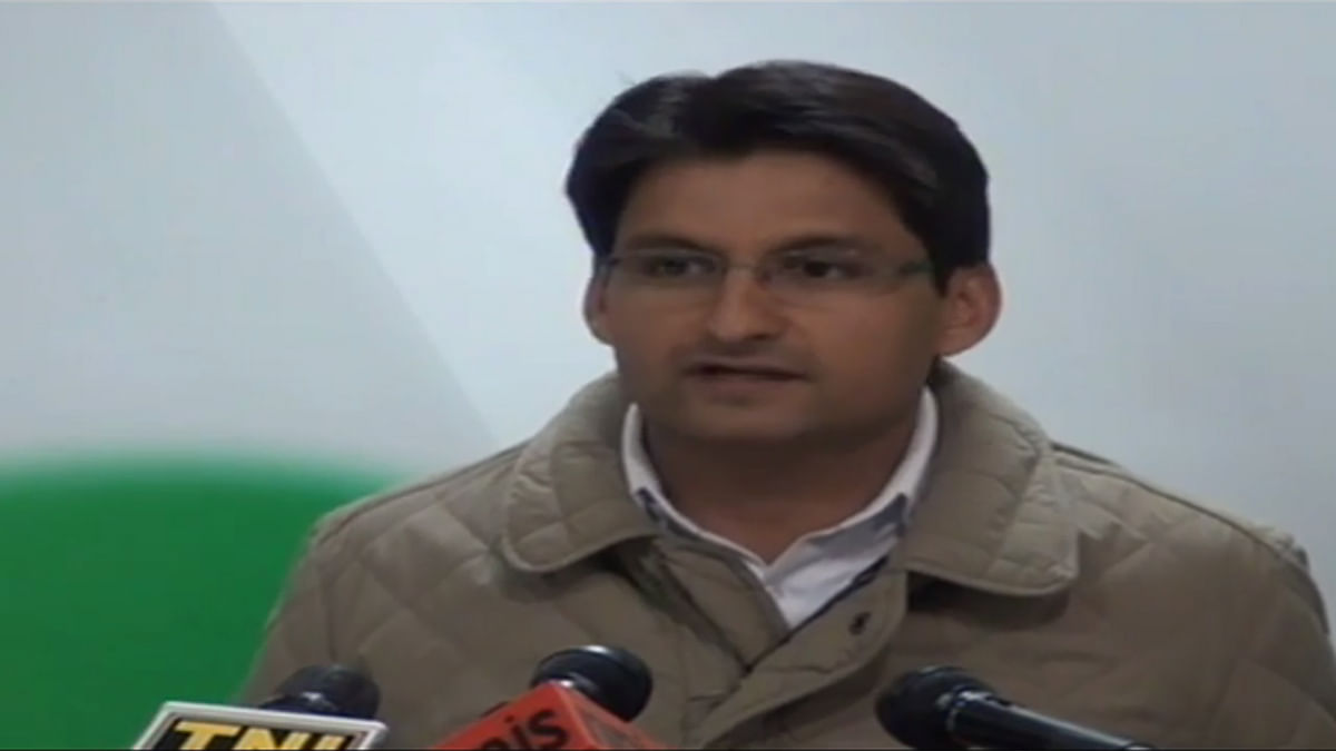 Deepender S Hooda, Spokesperson of Indian National Congress held a press conference on Wednesday. (Photo: Youtube Screengrab)