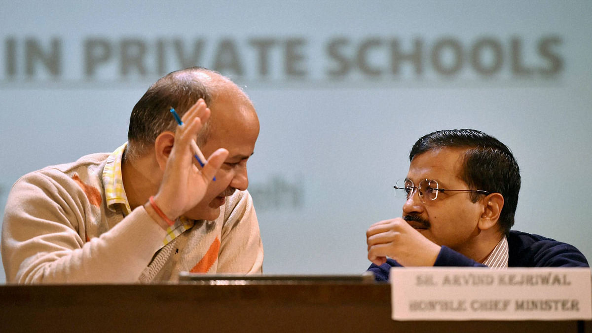 Delhi Chief Minister Arvind Kejriwal and  Education Minister Manish Sisodia during an interaction with Parents seeking admission in private schools (Photo: PTI)