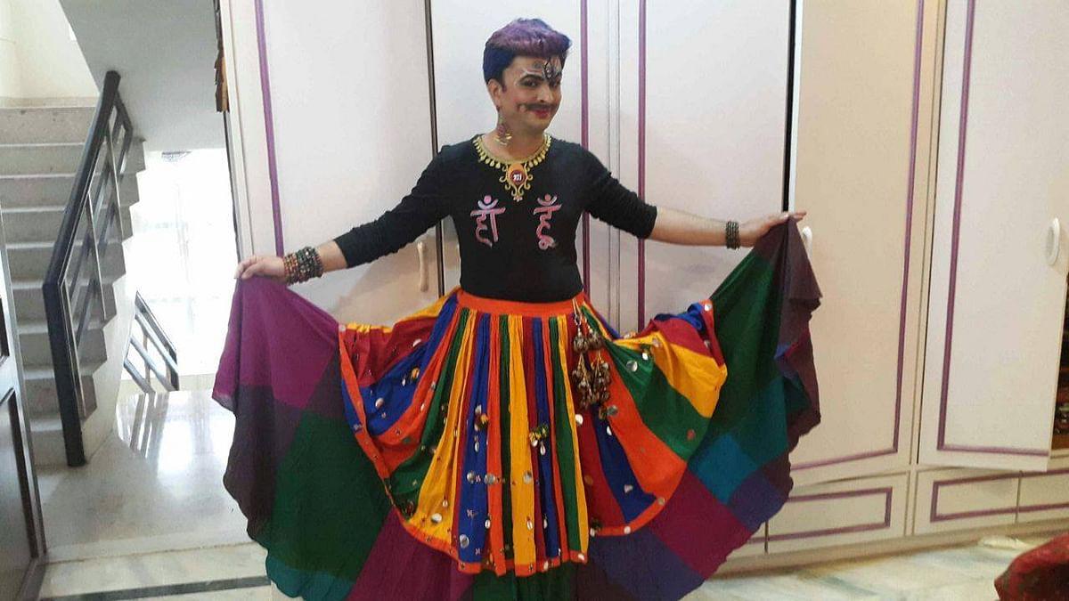 Harish Iyer in a rainbow skirt (Photo: Harish Iyer)