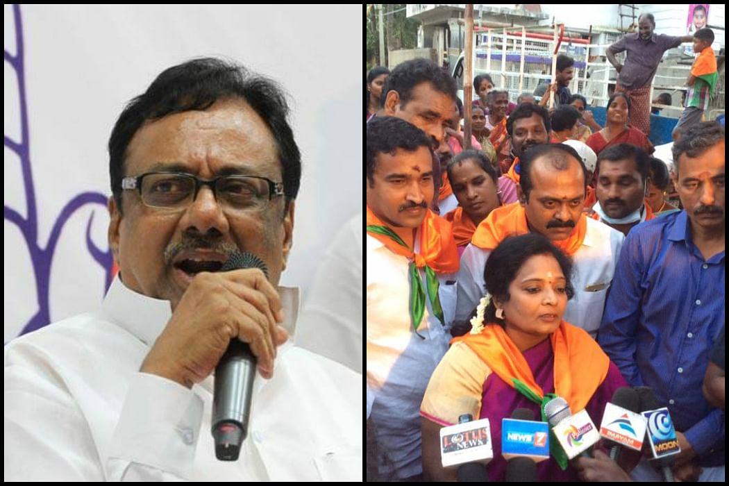 Tamil Nadu Congress Committee President EVKS Elangovan and his BJP counterpart Tamilisai Soundararajan. (Photo Courtesy: The News Minute)