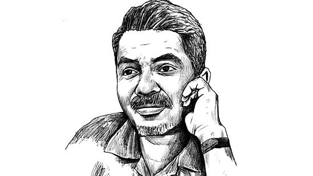 """Sketch of cartoonist-cum-journalist Prageeth Ekneligoda. (Photo: <a href=""""https://twitter.com/sunandadesh/status/684828415652958212"""">Twitter</a>)"""