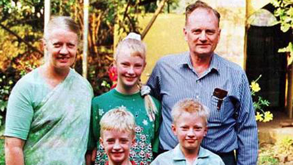 The Staines family before Graham Staines (right) and his two sons Philip and Timothy were burnt alive by Hindu right-wing activists.