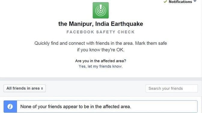 Facebook Safety Mark for Manipur is active. (Photo: Facebook screengrab)