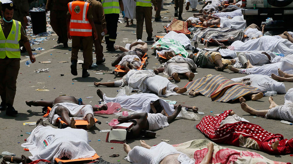 Bodies of people who died in a crush in Mina, Saudi Arabia during the annual hajj pilgrimage, are seen on 24 September 2015. (Photo: AP)