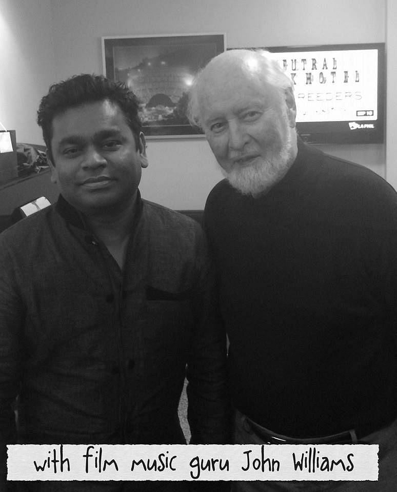 """AR Rahman poses with the legendary music composer John Williams (Photo: <a href=""""http://silverscreen.in/tamil/news/ar-rahman-meets-john-williams/"""">silverscreen.in</a>)"""
