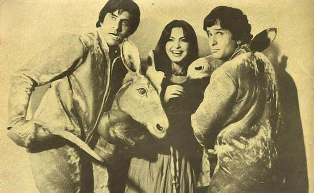 Amitabh Bachchan, Parveen Babi and Shashi Kapoor goof around on a film set.