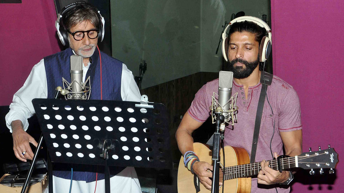 Amitabh Bachchan and Farhan Akhtar at Wazir song recording (Photo: Yogen Shah)