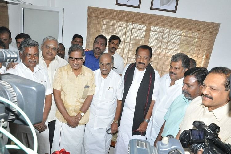 Mutharasan, G Ramakrishnan and Thol Thirumavalavan of People's Welfare Front (PWF) along with MDMK leader Vaiko. (Photo Courtesy: The News Minute)