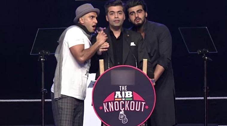 "Ranveer Singh, Arjun Kapoor and Karan Johar at the The AIB Knockout event (Photo: <a href=""https://www.youtube.com/watch?v=uSxRi60Pvn0"">The Liberal Hindu</a>)"