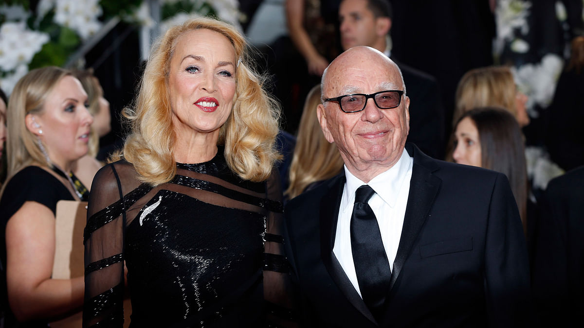 Jerry Hall and Rupert Murdoch at the 73rd Annual Golden Globe Awards in Los Angeles, California. (Photo: Reuters)