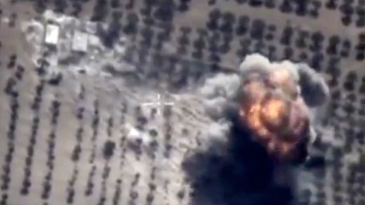 Footage taken from Russian Defence Ministry official website shows a target being hit during a Russian air raid in Syria. (Photo: AP)