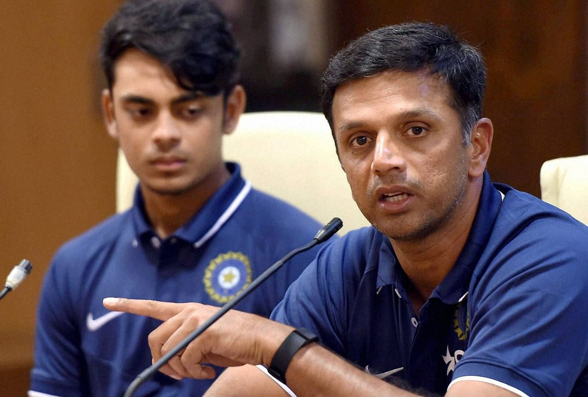 India's Under-19 coach Rahul Dravid along with captain Ishan Kishan (L) during a press conference in Mumbai on Tuesday. (Photo: PTI)
